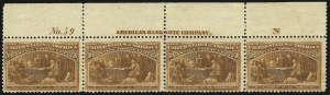 Sale Number 1037, Lot Number 1822, 1893 Columbian Issue, 1c thru 30c (Scott 230-239)8c, 15c, 30c Columbian, Imprint and Plate No. Strips (236, 238, 239), 8c, 15c, 30c Columbian, Imprint and Plate No. Strips (236, 238, 239)