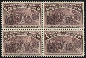 Sale Number 1037, Lot Number 1824, 1893 Columbian Issue, 1c thru 30c (Scott 230-239)8c Columbian (236), 8c Columbian (236)
