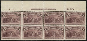 Sale Number 1037, Lot Number 1825, 1893 Columbian Issue, 1c thru 30c (Scott 230-239)8c Columbian (236), 8c Columbian (236)