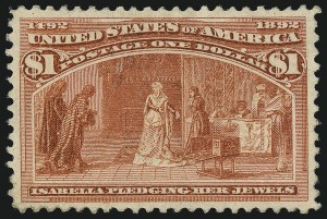 Sale Number 1037, Lot Number 1836, 1893 Columbian Issue, 50c thru $5.00 (Scott 240-245)$1.00 Columbian (241), $1.00 Columbian (241)