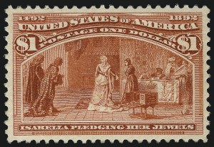 Sale Number 1037, Lot Number 1837, 1893 Columbian Issue, 50c thru $5.00 (Scott 240-245)$1.00 Columbian (241), $1.00 Columbian (241)