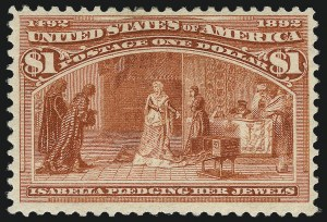 Sale Number 1037, Lot Number 1838, 1893 Columbian Issue, 50c thru $5.00 (Scott 240-245)$1.00 Columbian (241), $1.00 Columbian (241)