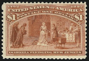 Sale Number 1037, Lot Number 1839, 1893 Columbian Issue, 50c thru $5.00 (Scott 240-245)$1.00 Columbian (241), $1.00 Columbian (241)