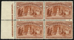 Sale Number 1037, Lot Number 1840, 1893 Columbian Issue, 50c thru $5.00 (Scott 240-245)$1.00 Columbian (241), $1.00 Columbian (241)