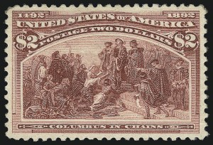 Sale Number 1037, Lot Number 1841, 1893 Columbian Issue, 50c thru $5.00 (Scott 240-245)$2.00 Columbian (242), $2.00 Columbian (242)