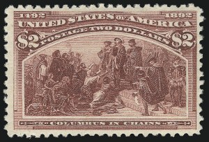 Sale Number 1037, Lot Number 1842, 1893 Columbian Issue, 50c thru $5.00 (Scott 240-245)$2.00 Columbian (242), $2.00 Columbian (242)