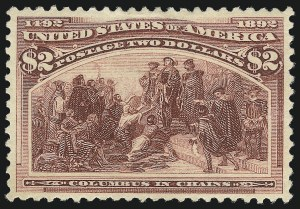 Sale Number 1037, Lot Number 1843, 1893 Columbian Issue, 50c thru $5.00 (Scott 240-245)$2.00 Columbian (242), $2.00 Columbian (242)
