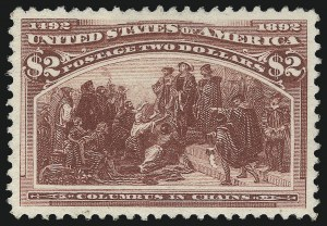 Sale Number 1037, Lot Number 1844, 1893 Columbian Issue, 50c thru $5.00 (Scott 240-245)$2.00 Columbian (242), $2.00 Columbian (242)