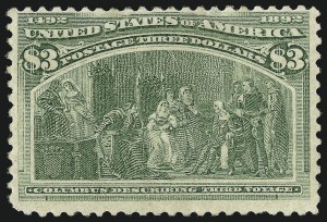 Sale Number 1037, Lot Number 1848, 1893 Columbian Issue, 50c thru $5.00 (Scott 240-245)$3.00 Columbian (243), $3.00 Columbian (243)