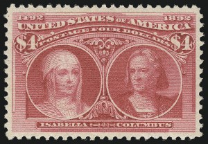 Sale Number 1037, Lot Number 1852, 1893 Columbian Issue, 50c thru $5.00 (Scott 240-245)$4.00 Columbian (244), $4.00 Columbian (244)