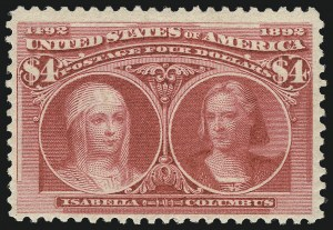 Sale Number 1037, Lot Number 1853, 1893 Columbian Issue, 50c thru $5.00 (Scott 240-245)$4.00 Columbian (244), $4.00 Columbian (244)