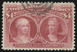 Sale Number 1037, Lot Number 1854, 1893 Columbian Issue, 50c thru $5.00 (Scott 240-245)$4.00 Columbian (244), $4.00 Columbian (244)