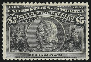 Sale Number 1037, Lot Number 1859, 1893 Columbian Issue, 50c thru $5.00 (Scott 240-245)$5.00 Columbian (245), $5.00 Columbian (245)