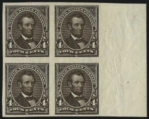 Sale Number 1037, Lot Number 1870, 1894-98 Bureau Issues (Scott 246-284)4c Dark Brown, Imperforate (254a), 4c Dark Brown, Imperforate (254a)
