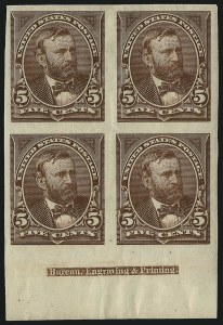 Sale Number 1037, Lot Number 1871, 1894-98 Bureau Issues (Scott 246-284)5c Chocolate, Imperforate (255a), 5c Chocolate, Imperforate (255a)