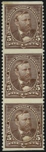 Sale Number 1037, Lot Number 1872, 1894-98 Bureau Issues (Scott 246-284)5c Chocolate, Vertical Strip, Imperforate Horizontally (255c), 5c Chocolate, Vertical Strip, Imperforate Horizontally (255c)