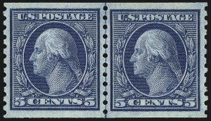 Sale Number 1037, Lot Number 2066, 1914-22 Issues (Scott 446-550)5c Blue, Coil (458), 5c Blue, Coil (458)