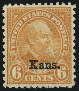 Sale Number 1037, Lot Number 2160, 1922-26 and Later Issues (Scott 551-1610)6c Kans. Ovpt. (664), 6c Kans. Ovpt. (664)