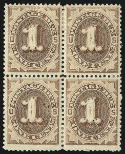 Sale Number 1037, Lot Number 2248, Postage Due Featuring Blocks and Plate Blocks (Scott J1-J28)1c Brown (J1), 1c Brown (J1)