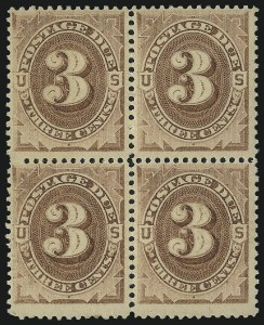 Sale Number 1037, Lot Number 2250, Postage Due Featuring Blocks and Plate Blocks (Scott J1-J28)3c Brown (J3), 3c Brown (J3)