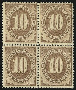 Sale Number 1037, Lot Number 2253, Postage Due Featuring Blocks and Plate Blocks (Scott J1-J28)10c Brown (J5), 10c Brown (J5)