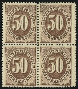 Sale Number 1037, Lot Number 2254, Postage Due Featuring Blocks and Plate Blocks (Scott J1-J28)50c Brown (J7), 50c Brown (J7)