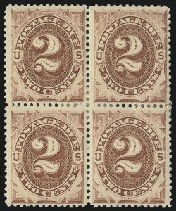 Sale Number 1037, Lot Number 2256, Postage Due Featuring Blocks and Plate Blocks (Scott J1-J28)2c Red Brown (J16), 2c Red Brown (J16)