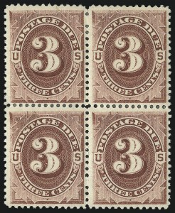 Sale Number 1037, Lot Number 2257, Postage Due Featuring Blocks and Plate Blocks (Scott J1-J28)3c Red Brown (J17), 3c Red Brown (J17)