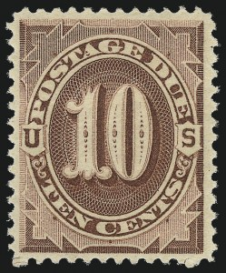 Sale Number 1037, Lot Number 2259, Postage Due Featuring Blocks and Plate Blocks (Scott J1-J28)10c Red Brown (J19), 10c Red Brown (J19)