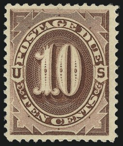 Sale Number 1037, Lot Number 2260, Postage Due Featuring Blocks and Plate Blocks (Scott J1-J28)10c Red Brown (J19), 10c Red Brown (J19)