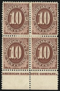 Sale Number 1037, Lot Number 2261, Postage Due Featuring Blocks and Plate Blocks (Scott J1-J28)10c Red Brown (J19), 10c Red Brown (J19)