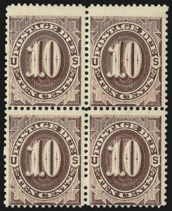 Sale Number 1037, Lot Number 2262, Postage Due Featuring Blocks and Plate Blocks (Scott J1-J28)10c Deep Red Brown (J19 var), 10c Deep Red Brown (J19 var)