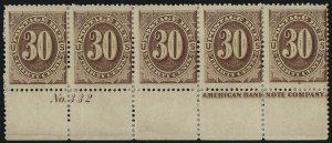Sale Number 1037, Lot Number 2264, Postage Due Featuring Blocks and Plate Blocks (Scott J1-J28)30c Red Brown (J20), 30c Red Brown (J20)