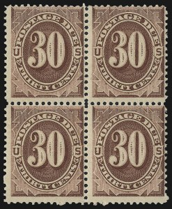 Sale Number 1037, Lot Number 2265, Postage Due Featuring Blocks and Plate Blocks (Scott J1-J28)30c Red Brown (J20), 30c Red Brown (J20)