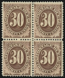 Sale Number 1037, Lot Number 2266, Postage Due Featuring Blocks and Plate Blocks (Scott J1-J28)30c Red Brown (J20), 30c Red Brown (J20)