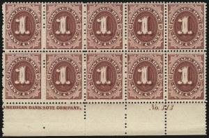 Sale Number 1037, Lot Number 2267, Postage Due Featuring Blocks and Plate Blocks (Scott J1-J28)1c Bright Claret (J22), 1c Bright Claret (J22)