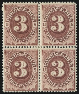 Sale Number 1037, Lot Number 2270, Postage Due Featuring Blocks and Plate Blocks (Scott J1-J28)3c Bright Claret (J24), 3c Bright Claret (J24)