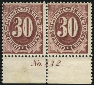 Sale Number 1037, Lot Number 2271, Postage Due Featuring Blocks and Plate Blocks (Scott J1-J28)30c Bright Claret (J27), 30c Bright Claret (J27)
