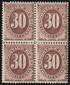 Sale Number 1037, Lot Number 2272, Postage Due Featuring Blocks and Plate Blocks (Scott J1-J28)30c Bright Claret (J27), 30c Bright Claret (J27)