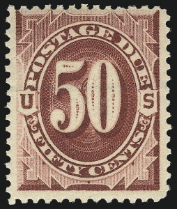 Sale Number 1037, Lot Number 2273, Postage Due Featuring Blocks and Plate Blocks (Scott J1-J28)50c Bright Claret (J28), 50c Bright Claret (J28)