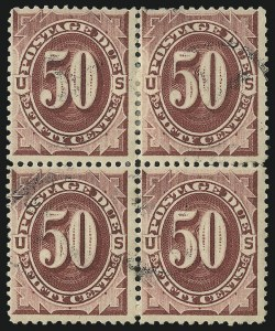 Sale Number 1037, Lot Number 2274, Postage Due Featuring Blocks and Plate Blocks (Scott J1-J28)50c Bright Claret (J28), 50c Bright Claret (J28)