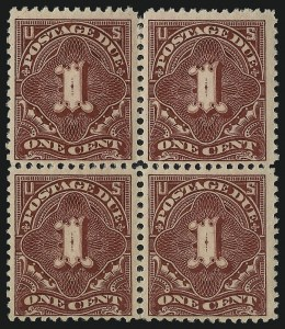 Sale Number 1037, Lot Number 2276, Postage Due Featuring Blocks and Plate Blocks (Scott J31-J75)1c Deep Claret (J31), 1c Deep Claret (J31)