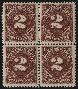Sale Number 1037, Lot Number 2278, Postage Due Featuring Blocks and Plate Blocks (Scott J31-J75)2c Deep Claret (J32), 2c Deep Claret (J32)