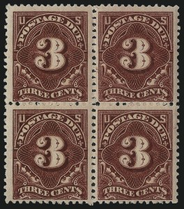 Sale Number 1037, Lot Number 2279, Postage Due Featuring Blocks and Plate Blocks (Scott J31-J75)3c Deep Claret (J33), 3c Deep Claret (J33)