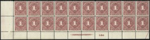 Sale Number 1037, Lot Number 2280, Postage Due Featuring Blocks and Plate Blocks (Scott J31-J75)1c Deep Claret (J38), 1c Deep Claret (J38)