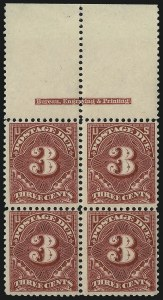 Sale Number 1037, Lot Number 2283, Postage Due Featuring Blocks and Plate Blocks (Scott J31-J75)3c Deep Claret (J40), 3c Deep Claret (J40)