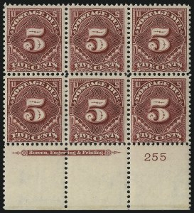 Sale Number 1037, Lot Number 2285, Postage Due Featuring Blocks and Plate Blocks (Scott J31-J75)5c Deep Claret (J41), 5c Deep Claret (J41)