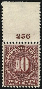 Sale Number 1037, Lot Number 2286, Postage Due Featuring Blocks and Plate Blocks (Scott J31-J75)10c Deep Claret (J42), 10c Deep Claret (J42)