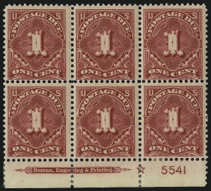 Sale Number 1037, Lot Number 2288, Postage Due Featuring Blocks and Plate Blocks (Scott J31-J75)1c Rose Carmine (J45a), 1c Rose Carmine (J45a)
