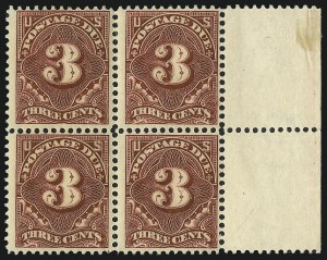 Sale Number 1037, Lot Number 2289, Postage Due Featuring Blocks and Plate Blocks (Scott J31-J75)3c Deep Claret (J47), 3c Deep Claret (J47)